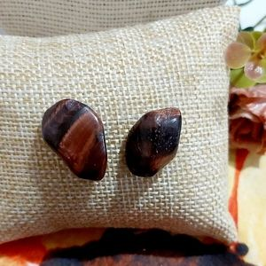 Red Tiger's Eye Stainless Steel Stud Earrings  ✨BU